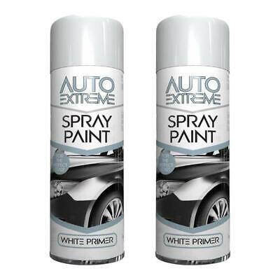 2 x White Primer Spray Paint Aerosol Auto Car Van Bike Restore Metal  250ml