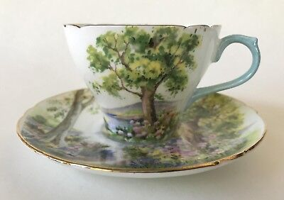 English Shelley Fine Bone China Woodland Tea Cup & Saucer Set New Cambridge Cup
