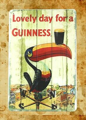 US Seller- Lovely day for a Guinness tin metal sign advertising wall decal