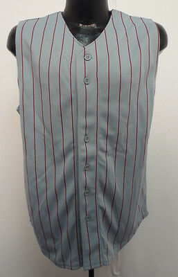 Adult  Sleeveless Baseball Jersey Pinstripe WHITE // RED