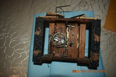 ANTIQUE Black Forest CUCKOO WOODEN PLATES CLOCK MOVEMENT BEHA??? for parts