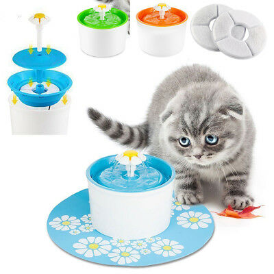 Electric 1.6L Automatic Dog/Cat Pet Water Fountain Drinking Bowl Feeder+2 Filter