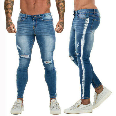 9eed092a51e Gingtto Men Jeans Side Stripe Super Stretch Fashion Slim Fit Skinny Washed  Pants