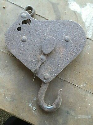 Antique Double  Metal Block & Tackle Rope Pulley c1900 Marine/Barn/ Nautical