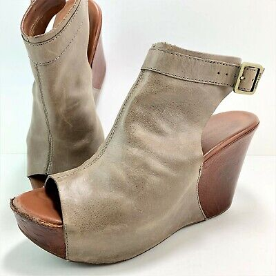 df485aa38ed Kork Ease Nero Women s Size 8 M Gray Leather Ankle Strap Wedge Sandals  K35817