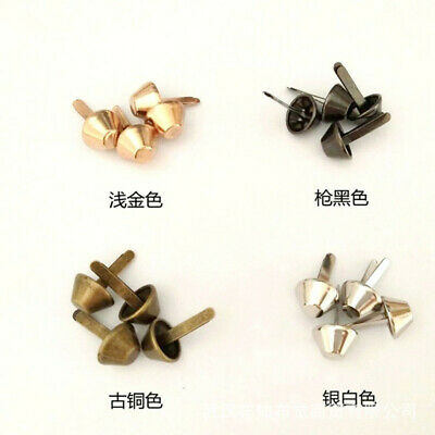 100Pcs 12mm Metal Feet Rivets Studs Pierced DIY Handbag Purse Punk Bag Accessory