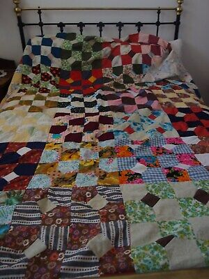 Antique quilt top great colours hand made