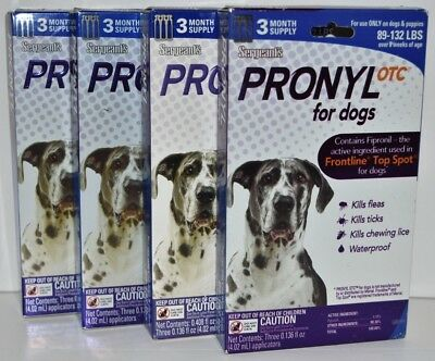 Sergeants Pronyl OTC for Dogs (89-132 lbs) 12 Month Supply (1 Year) Brand New