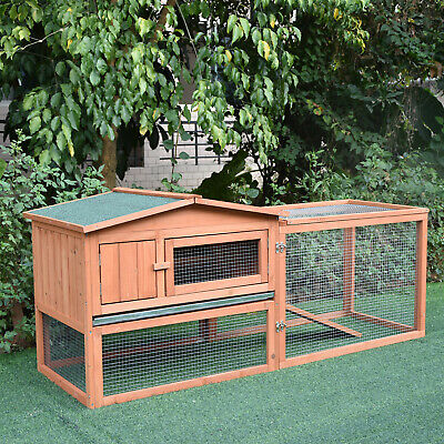 "Pawhut 62"" Wooden Rabbit Hutch Bunny Cage  Animal House w/ Backyard Run Ramp"