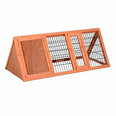 PawHut  Rabbit Cage Wooden A-Frame Small Animal Hutch Patio Pet House Outdoor
