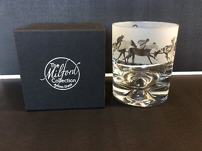 Horse Racing Animo Whiksey Glass Gift Boxed