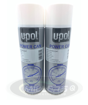 2 X U-POL Aerosol Power Can CLEARCOAT LACQUER Professional Spray Paint 500ml