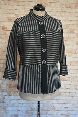 A809Geoff Bade Black And White Jacket Size 16 Ec