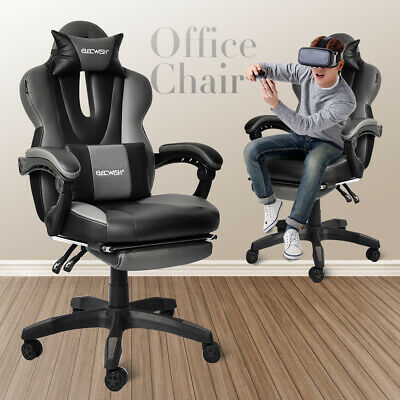 Racing PU Executive Gaming Chair Support Recliner Nap Office Desk Task Footrest