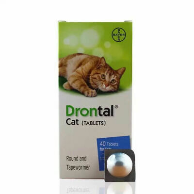 Bayer Drontal Plus for Cats 4 Tablets Dewormer Allworms Round & Tap Worm
