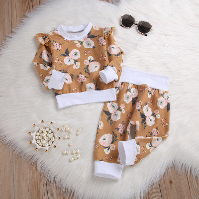 Autumn Spring Kids Baby Girls Floral Long Sleeve Top+Trousers Clothes Outfit Set
