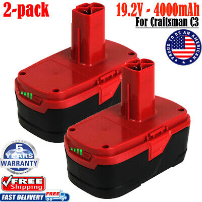 2x 4.0Ah For Craftsman 19.2V C3 Lithium Battery XCP 130279005 1323903 130211004