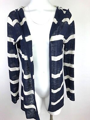 40be3baf51 Hiho Cardigan Womens Small Navy Striped Hooded Open 100% Linen Caribbean  Sweater