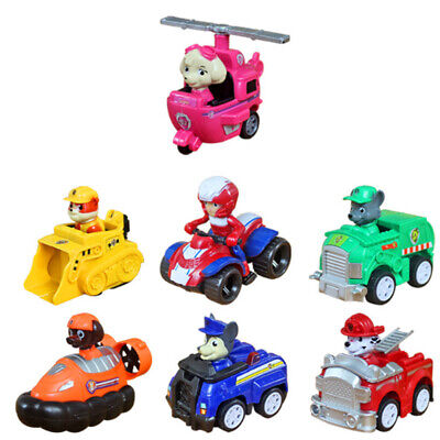 7pcs Fun Paw Patrol Dog Action Figures Doll Racer Car Set Kids Collection Toys