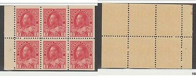MNH Canada 2c KGV Admiral Booklet Pane #106a (Lot #14946)