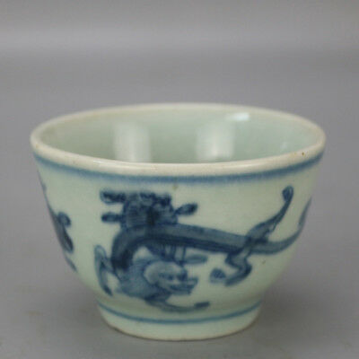 Chinese old hand-carved porcelain Blue and white dragon pattern Kung fu tea cup