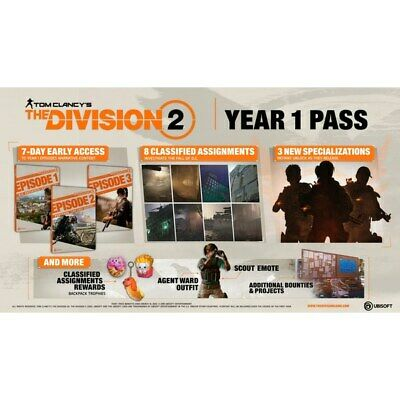 New Tom Clancy's The Division 2 - Year 1 Pass (PlayStation 4) -PS4 Europa