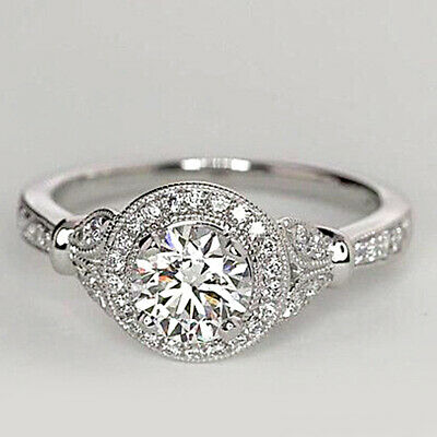 1.00ct Round Cut Diamond Solitaire Engagement Halo Vintage Ring 10k White Gold