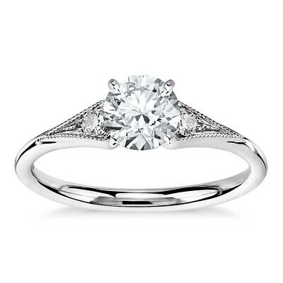 0.75ct Round Cut 10k Real White Gold Solitaire Engagement Wedding Women's Ring