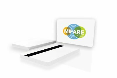 NXP MIFARE Classic EV1 1K Blank White PVC Cards with Magstripe (Pack of 100)