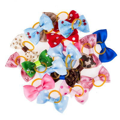 20Pcs Mixed Hair Bow W/Rubber Bands For Small Dog Cat Grooming Bowknot Accessory