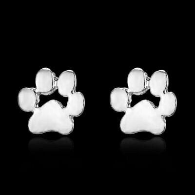 Women Cat-pad Dog Paw Silver Earrings Ear Stud Charm Chirstmas Gift Jewelry Hot
