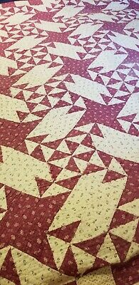 Antique Quilt Red & White Cutter Or Repair 68x60
