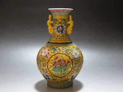 China Famille Rose yellow glaze porcelain Vase Painted fruit Flower Have mark