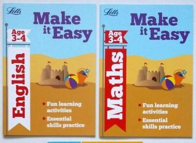 Letts Make it Easy English & Maths Ages 3-4 yrs (set of 2 workbooks) NEW!!!!