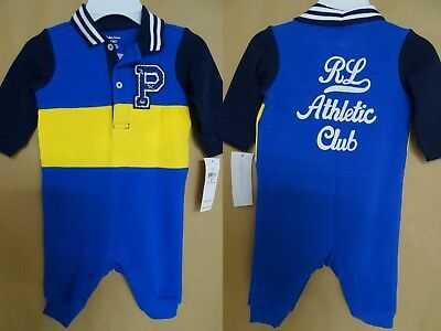 NEW POLO Ralph Lauren Baby Boys Coverall Varsity P-wing Colorblock One Piece Blu