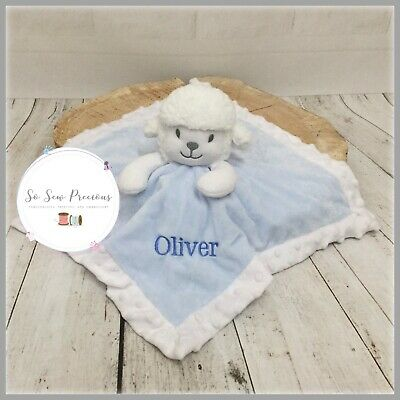 Personalised Baby Comforter Blanket, Lamb, Embroidered, New Baby, blue or pink