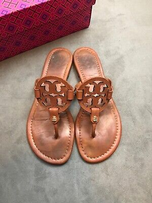 71f8133d3bca TORY BURCH Miller Vintage Vachetta Brown Cognac Leather Thong Sandal Sz 8   D16