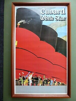 SUPERB 2 of 2- Vintage Framed ART DECO Travel Poster 'CUNARD WHITE STAR LINE'