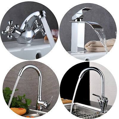 Modern Kitchen Sink Pull Out Spray Mixer Tap Brushed Steel Brass Hot&Cold Faucet
