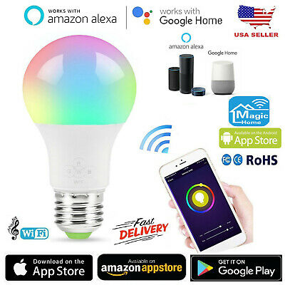 WIFI SMART MULTI-COLOR LED Light Bulb for Amazon Alexa/Google Home App  Control