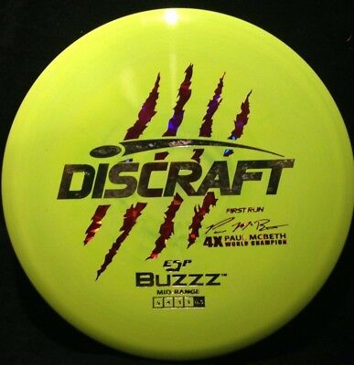Discraft Paul McBeth ESP Buzzz 177+ Yellow with Purple and Silver Stamp