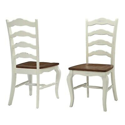 Modern Farmhouse Solid Wood Ladder Back Dining Chairs - Set of 2 - WHITE