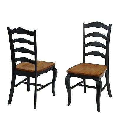 Modern Farmhouse Solid Wood Ladder Back Dining Chairs - Set of 2 - BLACK
