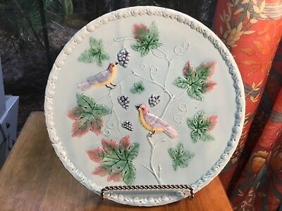 """Large Turquoise German Majolica Birds & Grapes Wall Plaque by Zell 12"""""""