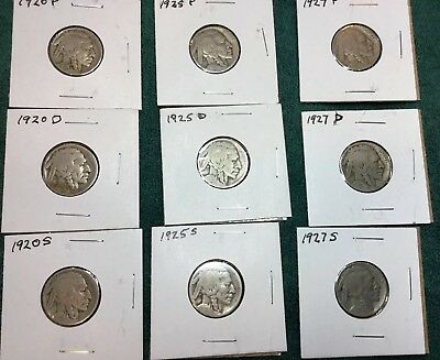 Lot Of 24 P, D, & S Buffalo Indian Head Nickels 1920-1937