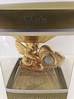 Elgin Collectable Mini Clock Angel Baby with Heart NIP Desk Table Clock