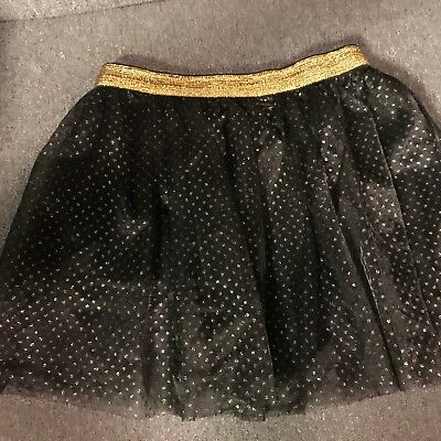 4c15fd000c Tutu Dress Up Skirt Black Tulle Silver Gold Polka Dots Costume Party NWT 4T