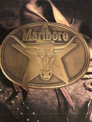 Philip Morris Inc 1987 Marboro Cigarettes Belt Buckle Solid Brass Longhorn Steer