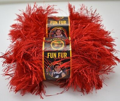 Lion Brand Yarn Fun Fur Flamingo 3 Skein Lot Hot Pink Eyelash Bulky Polyester