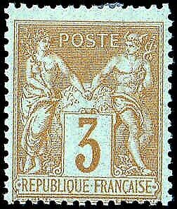FRANCE #89 3 centimes. Yellow on Straw. Type Sage. Hinged. Fresh! Rare!